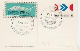Riccione 1970 - Aerofilatelia - AIDA FISA Aerophilex + Vignette Speciale - 1961-70: Marcophilie