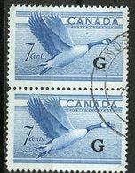 Canada 1952 7 Cent Canada Goose G Overprint Issue #O31  Vertical Pair  Windsor Ontario Cancel - Service