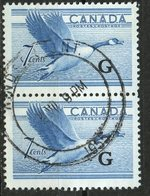 Canada 1952 7 Cent Canada Goose G Overprint Issue #O31  Vertical Pair  Windsor Ontario Cancel - Officials