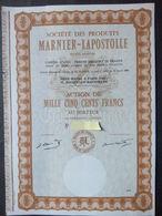 1 Sté Des Produits Marniers - Lapostolle Action De 500 FR - Shareholdings
