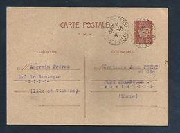 OBLITERATION DE DOL DE BRETAGNE ILLE ET VILAINE SUR ENTIER PETAIN 1942 - Poststempel (Briefe)