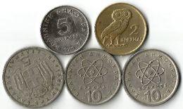 Lot 5 Pièces De Monnaie  2 - 5 Et 10  Drachmes /Drachmais - Grèce