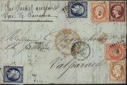 Empire Non Dentelé YT 13 A 14 A 16 Et 17 A Ambulant NP Nantes Paris Valparaiso Chili Voie Anglaise Panama Quadricolore - 1849-1876: Période Classique