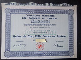 Cie Française Des Carbures De CALCIUM SECHILIENNE Action 5.000 FR - Autres