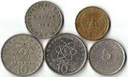 Lot  5  Pièces De Monnaie 1 - 5 Et  10  Drachmes /Drachmais - Grecia