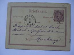 NETHERLANDS INDIES 1884 Postal Stationary Card Rembang Postmark - Indie Olandesi