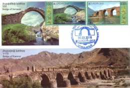 Armenien / Armenie / Armenia / Artsakh / Karabakh 2018, EUROPA CEPT,Bridge Jarvanes XIII C, Karavaz VII C - Card Maximum - Arménie