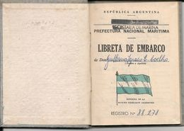 ARGENTINA 1960 LIBRETA DE EMBARCO - PREFECTURA NACIONAL MARITIMA  - SECRETARIA MARINA - Documentos Históricos