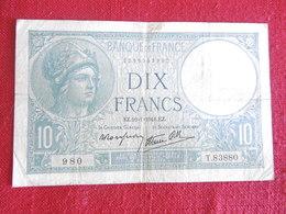 BILLET 10 FRANCS MINERVE-16.01.1941-N°980/T.83880 - 1871-1952 Anciens Francs Circulés Au XXème
