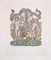 Ex-libris Moderne XXème Illustré -  Allemagne - Homme Et Femme Nus Au Blason - Familie Bräuer - Ex-libris