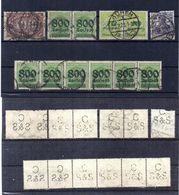 Deutschland, Ca. 1900-1923, 12 Briefmarken (darunter 2 Paare Und 1 Waagr. 6er-Streifen), Alle Mit Perfin (16038E) - Germany