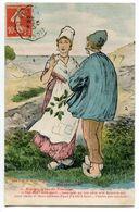 """CPA PAYSANNERIES """" M' Aimes Tu Ben ! 1913 - Paare"""