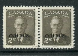 Canada 1950 Official 2 Cent King George VI  Issue Overprinted OHMS #O13 Pair - Officials