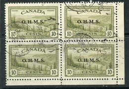 Canada 1949 Official 10 Cent Great Bear Lake  Issue Overprinted OHMS #O6 Block Of 4 - Officials