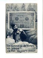 """Cp - BILLET DE BANQUE Vingt Francs """"Un Comme çà De Temps En Temps ça Fait Toujours Plaisirs"""" - Coins (pictures)"""