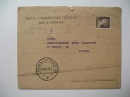 """Lettre Perforé Perfin BCI  Banca Commerciale Italiana Sede Di Venezia  1932  Cachet """" Commando 24 Divisione Censura """" - Italia"""