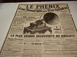 ANCIENNE PUBLICITE GRAND PHONOGRAPHE LE PHENIX 1904 - Affiches & Posters