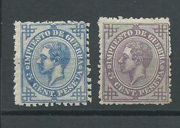 Edifil 183 - Dos Raras Pruebas En Color Azul Y Violeta - Impuestos De Guerra