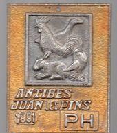 Antibes Juan Les Pins (06 Alpes Maritimes)    Plaque Métallique EXPOSITION D'AVICULTURE 1991  (P.34) - Autres Collections