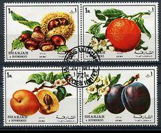 Sharjah Ob Michel N° 1220 A à 1223 A - Fruits : Chataignes, Oranges, Pêches, Prunes - - Sharjah