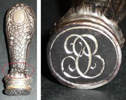 """Sceau/cachet/tampon En Argent Et Métal Monogramme Lettre """"B""""??, Dessin écriture à Cire ? - Cachets"""