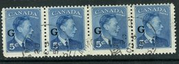 Canada 1950 5 Cent King George VI G Overprint Issue #O20 Strip Of 4 - Officials