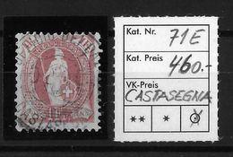 1900-1903 STEHENDE HELVETIA Gezähnt → Rundstempel CASTASEGNA !!!  ►SBK-71E/14 Zähne Kontrollzeichen B◄ - Used Stamps