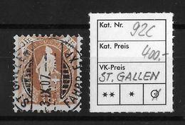 1882 - 1906 STEHENDE HELVETIA Gezähnt → Rundstempel ST.GALLEN  ►SBK-92C◄ - Oblitérés