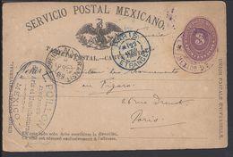 """MEXIQUE 1889 """"Servicio Postal Mexicano"""" Carte Entier Postal U.P.U Très Centavos De Mexico, Via New-York, Pour Paris - - Mexique"""