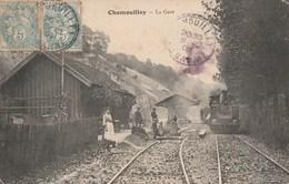 CHAMOUILLEY - LE TRAIN ARRIVE EN GARE - BELLE ANIMATION - - Autres Communes