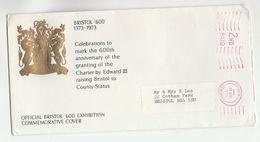 1973 GB BRISTOL 600th Anniv EVENT COVER Meter Stamps Heraldic - Covers