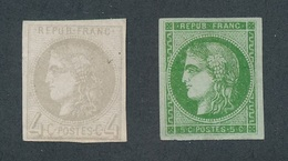 "BZ-81: FRANCE: ""BORDEAUX"" Lot Avec N°41B (NSG, Léger Pli)- 42B (NSG, Infime Clair) - 1870 Bordeaux Printing"