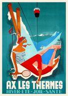 Ax Les Thermes Hiver-ete-joie-sante 1956 / Copie De CP - Publicité