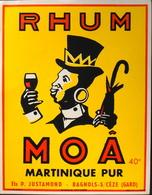 ETIQUETTE De RHUM - RHUM MOÂ 40° Martinique Pur  - Ets P. Justamond à Bagnols-sur-Céze (Gard) - Parfait état - Rhum