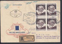 AUTRICHE - Enveloppe Recommandée Illustrée, Journée Du Timbre, Affr. Bloc De Quatre Du N° 828, Cote Des Timbres 44 € - - FDC
