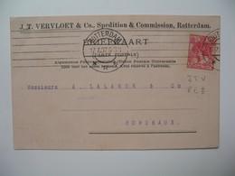 Lettre Perforé  Perfin  JTV & CO  J.T. Vervloet & Co   Pays-Bas   1907   Rotterdam   Pour  La France Bordeaux - Periode 1891-1948 (Wilhelmina)