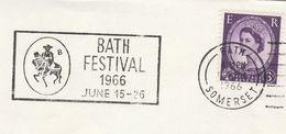 1966 Bath GB COVER SLOGAN Illus HORSE BATH FESTIVAL  Stamps Horses - Horses