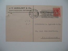 Lettre Perforé  Perfin  JTV & CO  J.T. Vervloet & Co   Pays-Bas   1927   Rotterdam   Pour  La France Bordeaux - Lettres & Documents