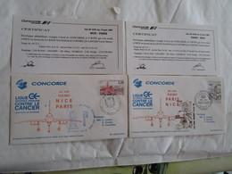 Concorde 1er Vol Paris Nice AR 13-6-87 Ligue Contre Le Cancer - Concorde