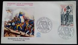 FDC 1972 - YT N°1730 - BONAPARTE AU PONT D'ARCOLE - PARIS - FDC