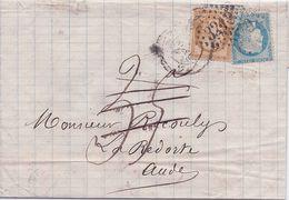 FRANCE - LETTRE ROUEN POUR LA REDORTE AUDE 1871 - 1871-1875 Ceres