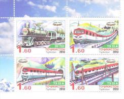 2013. Tajikistan, Locomotives, 4v Perforated Se-tenant, Mint/** - Tajikistan