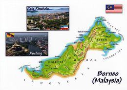 1 Map Of Malaysia Insel Borneo * 1 Landkarte Von Sabah + Sarawak, In D. Kl. Bildern Die Hauptstädte Dieser Bundesstaaten - Carte Geografiche