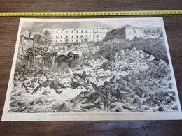 1870/1871 GRAVURE ASPECT DE LA CITADELLE DE LAON EXPLOSION DE LA POUDRIERE - Collezioni
