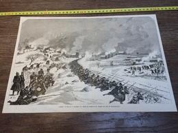 1870/1871 GRAVURE COMBATS PRES DU REMBLAI DU CHEMIN DE FER BETHANCOURT - Vieux Papiers