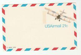 1978 USA BI-PLANE Postal  STATIONERY CARD Cover Stamps Aviation Aircraft - Airplanes
