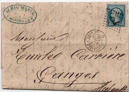 84Sm N°54  Lettre 1868 Marseille à Lyon, Tarascon à Cette Et Gange (Hérault) Entrelacés Surcharge ML2 - Postmark Collection (Covers)