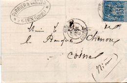 84Sm N°57  Lettre 1887 Gien (Loiret) à Cosne Cachet Perrier Vannier à Gien - Storia Postale