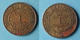 TOKEN JETON GETTONE TRASPORTI TRANSIT ONTARIO HIGHWAYS - Monetary/Of Necessity