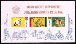 Ghana 1967 MNH Scott #310a Sheet Of 3 Imperf Boy Scouts, Baden-Powell - Ghana (1957-...)